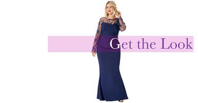 elegantes Abendkleid lang in Größe 50 , dunkelblaues Abendkleid lang für Mollige