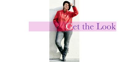 cooler Street Syle Look für mollige junge Frauen , Lederblouson rot in großen Größen
