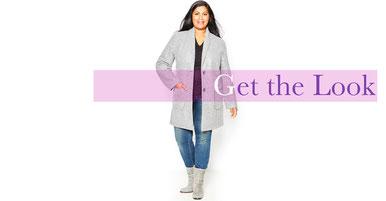 trendige Kollektion an Mänteln für große Größen , warmer Damenmantel grau Gr 50