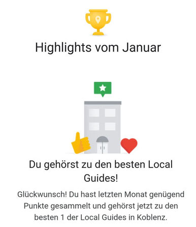 DANKE für den 1. Platz als Google Local Guide Region Koblenz!