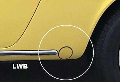 912 B-Serie LWB. Torsionsstabkappe mehrere Zentimeter entfernt vom Radlaufausschnitt