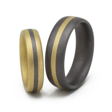 Goldring mit Tantalstreifen, Tantalring mit Goldstreifen, tantal-trauringe, tantalum-wedding-rings, tantal-eheringe, tantalringe-mit-gold, tantal