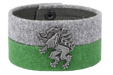 trachtenarmband aus stoff, steirischer panther, breit, zaumgschwanzt