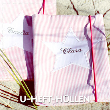 Julia Design Stoff Baumwolle handmade Handarbeit schön U-Heft-Hülle Untersuchungsheft