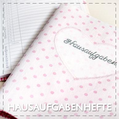 Hausaufgabenheft Hefthülle DIN A5 Stoffhülle Julia Design handmade