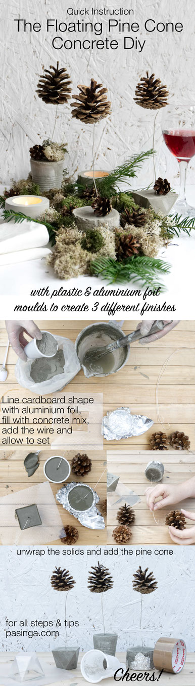 DIY Quick Instruction DIY Floating Pine Cone PASiNGA Concrete Tutorial