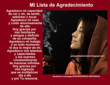 EL PODER DE LA GRATITUD - PROSPERIDAD UNIVERSAL - MI LISTA DE AGRADECIMIENTO - www.prosperidaduniversal.org