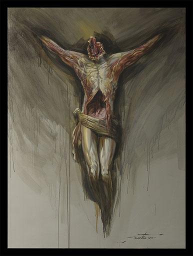 écorché, peinture, anatomie, dessin, vie, mort, déchirure, oil painting, drawing
