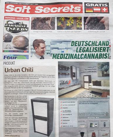 Soft Secrets - Deutschland legalisiert Medizinalcannabis - urban Chili Growschrank Bericht 2017