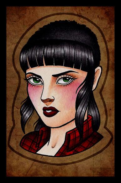maria roca, maria roca tattoo, skinhead, skingirl, skinhead girl tatoo, skingirl draw, business card, maria roca 77