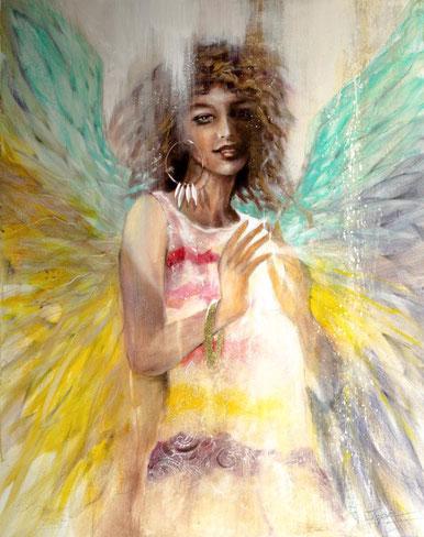 Engel Blau christliches Gemälde, gemalt von Jopie Bopp #Leinwandbild #Muttermaria