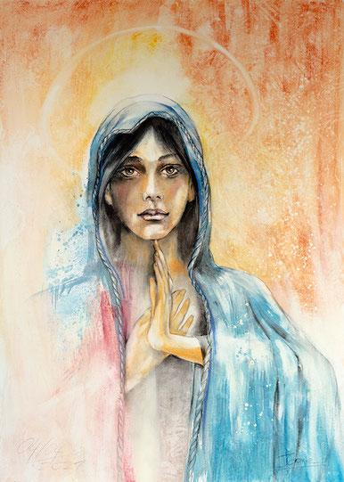 Mutter Maria Wandbild christliches Gemälde, gemalt von Jopie Bopp #Leinwandbild #Muttermaria