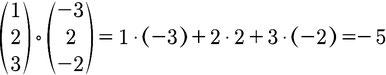 Beispiel zur Berechnung des Skalarprodukts für 3D Vektoren