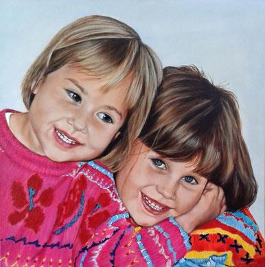 Lisa und Julia, Acryl, 60x60cm, 2015,  Auftragsarbeit