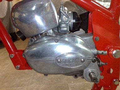 Primer plano del motor, carburador y protección de la refrigeración