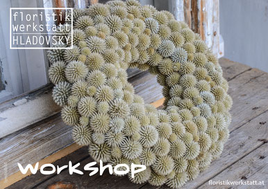 Floristikwerkstatt Hladovsky Ebreichsdorf Workshop Floristik-Kurs Ausbildung Tischkranz Mediterran Bindetechnik Doityourself DIY