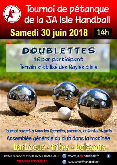 affiche du tournoi de pétanque 2018 de la JA Isle Handball