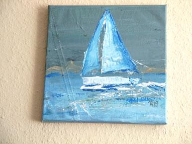 Segelbild einer Segelyacht in Acrylfarben gemalt PM
