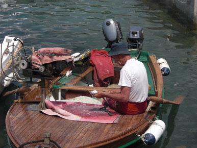 Beim Fische schuppen