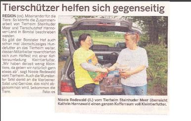 Tierschützer helfen sich gegenseitig, Neustädter Zeitung  19.05.2012
