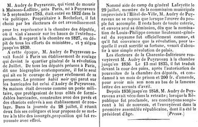 Article du 16 déc 1852. Notice nécrologique Audry de Puyraveau