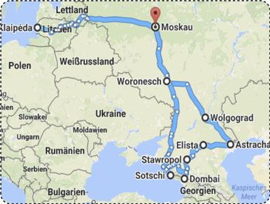 Reiseroute 2017, Quelle: Google Maps 2017