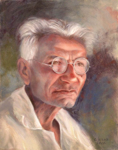"Painted by Charlie Mills,2002 ""Padri"" - Oil-14x11 -Courtesy of AMBT,Merherabad, India - http://www.millsstudio.com/"