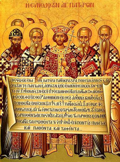 """En 381, la confession de foi appelée """"Symbole de Nicée-Constantinople"""" ou Credo est ainsi définitivement établie. La doctrine de la trinité est alors bien définie et imposée dans tout l'Empire. Ceux qui n'adhèrent pas à la Trinité sont persécutés."""