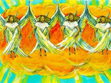 Exilé près du fleuve Kebar, Ézéchiel reçoit la vision des 4 chérubins dont le bruit de leurs ailes est pareil au bruit des grandes eaux ou à la voix du Tout-Puissant.