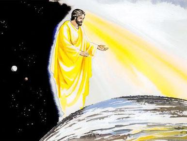 Le retour de Jésus est associé à son règne et au jugement des habitants de la terre. En effet, le Fils de l'homme va venir dans la gloire de son Père, avec ses anges, et alors il traitera chacun conformément à sa manière d'agir.