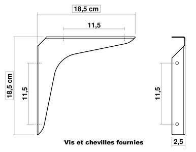 Dimensions de l'équerre LunYa pour étagère murale