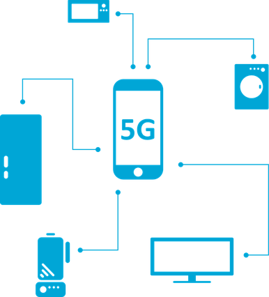 5G network icons and graphics