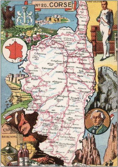 Recto d'une carte postale timbrée envoyée depuis la Corse-du-Sud