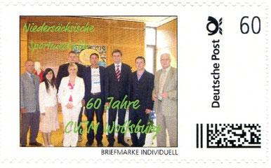 Auf einer Briefmarke: Der CVJM Wolfsburg bei der Überreichung der niedersächsischen Sportmedaile durch die Landesregierung und den LandesSportBund