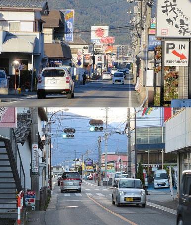 下:県道5号線西八幡付近、上:山交廃軌道徳行付近