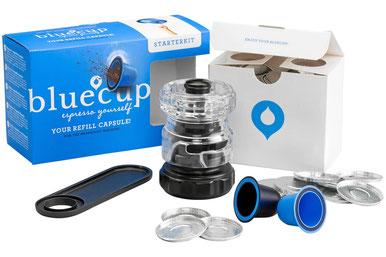 Bluecup Starterset mit Cup-Cr,eator, Bluecup-Kaffeekapseln, Löffelhalter und Deckeln