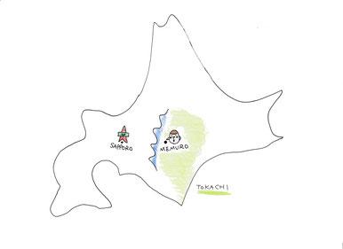 手書き北海道地図 芽室町位置