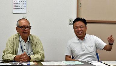中尾会長と 長島愛生園歴史館の田村朋久主任学芸員