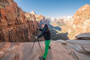 pocketPANO Nodalpunktadapter mit der Canon G7X II auf einem Reisestativ