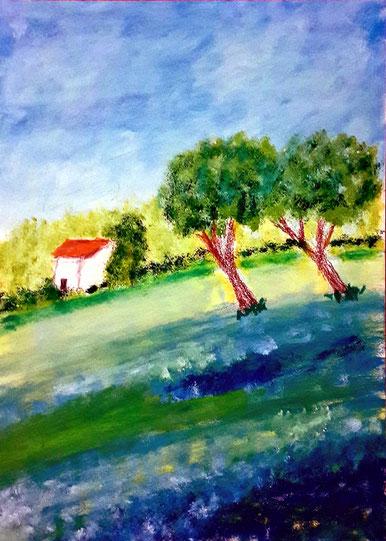 Provence, Ölgemälde, Hügel, Bäume, Blumen, Haus, Natur, Himmel, Wolken, Landschaftsbild, Ölmalerei, Ölbild