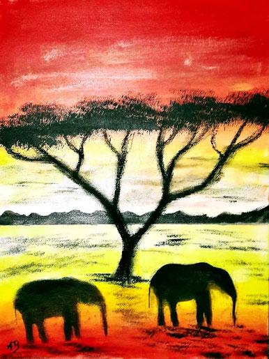 Sonnenuntergang in Afrika, Acrylgemälde, Landschaftsbild, Hügel, Bäume, Elefanten, Savanne, Acrylbild, Landscape, Landschaft