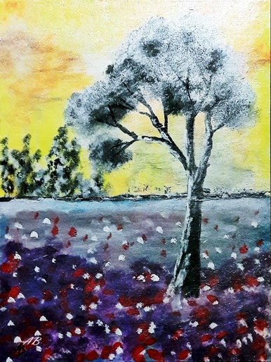 Lavendelfeld, Acrylgemälde, Landschaftsbild, Lavendel, Provence, Bäume, Wald, Sonnenuntergang, Acrylmalerei, moderne Malerei