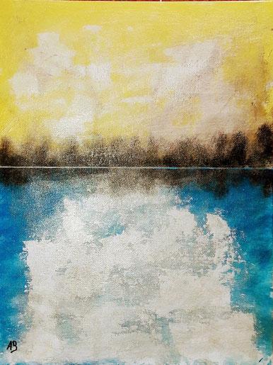 Abstrakte Seelandschaft, Acrylgemälde, Landschaftsbild, Bäume, Wald, See, Himmel, Sonnenuntergang, Abstrakte Malerei, Acrylbild