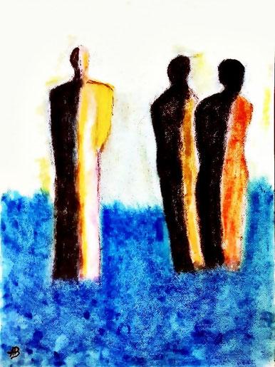 Ein Man mit  Zwei Frauen, Pastellmalerei, Figurativ, Menschen, Abstrakt, moderne Malerei, Pastellgemälde, Pastellbild