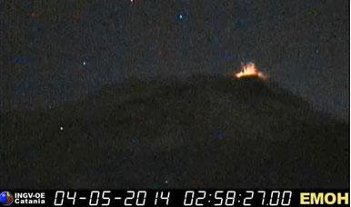 Frame ripreso dalla webcam sensibile dell'INGV-OE posta sulla Montagnola. Link originale disponibile cliccando sulla foto