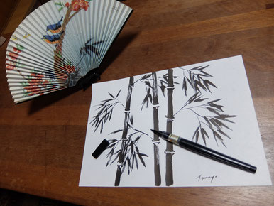 Casual online Japanese ink painting classes by donation in English.
