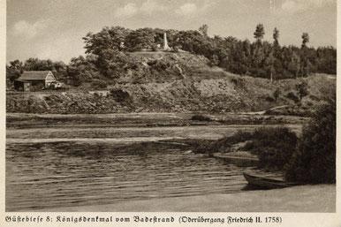 Der Übergang der preußischen Armee bei Güstebiese, Schmöckeberg mit Denkmal (historische Postkarte)