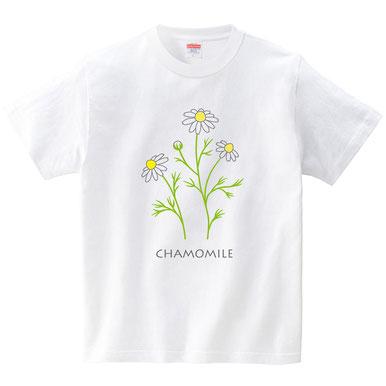カモミールイラストTシャツデザインかわいいおしゃれ素敵白