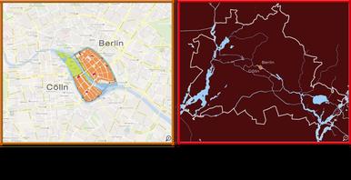Links ist ein kleiner Ausschnitt aus Google Maps, man sieht nicht ganz Berlin. Rechts sind in weiß die Stadtbegrenzungen von Berlin heute zu sehen. Ganz klein, in der Mitte, liegen Berlin und Cölln.
