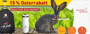 Osterhase im Grünen mit Kölle to go-Produkten. Köln Geschenke.
